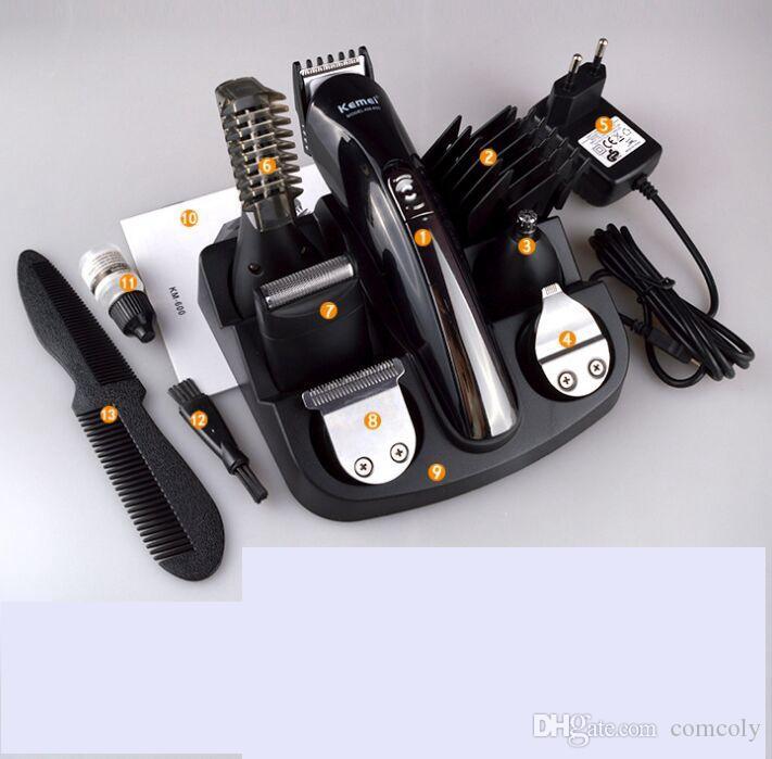2018 KEMEI KM-600 Professional 6 في 1 ماكينة حلاقة شعر كهربائية قابلة للشحن ماكينة حلاقة ماكينة حلاقة اللحية