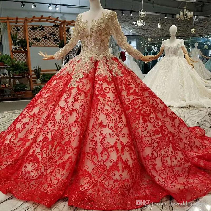2019 Evening Dresses Red Curve Shape Party Dresses With Golden Lace O-Neck Long Sleeves Lace Up Back Ball Gown Bride Dress Court Train
