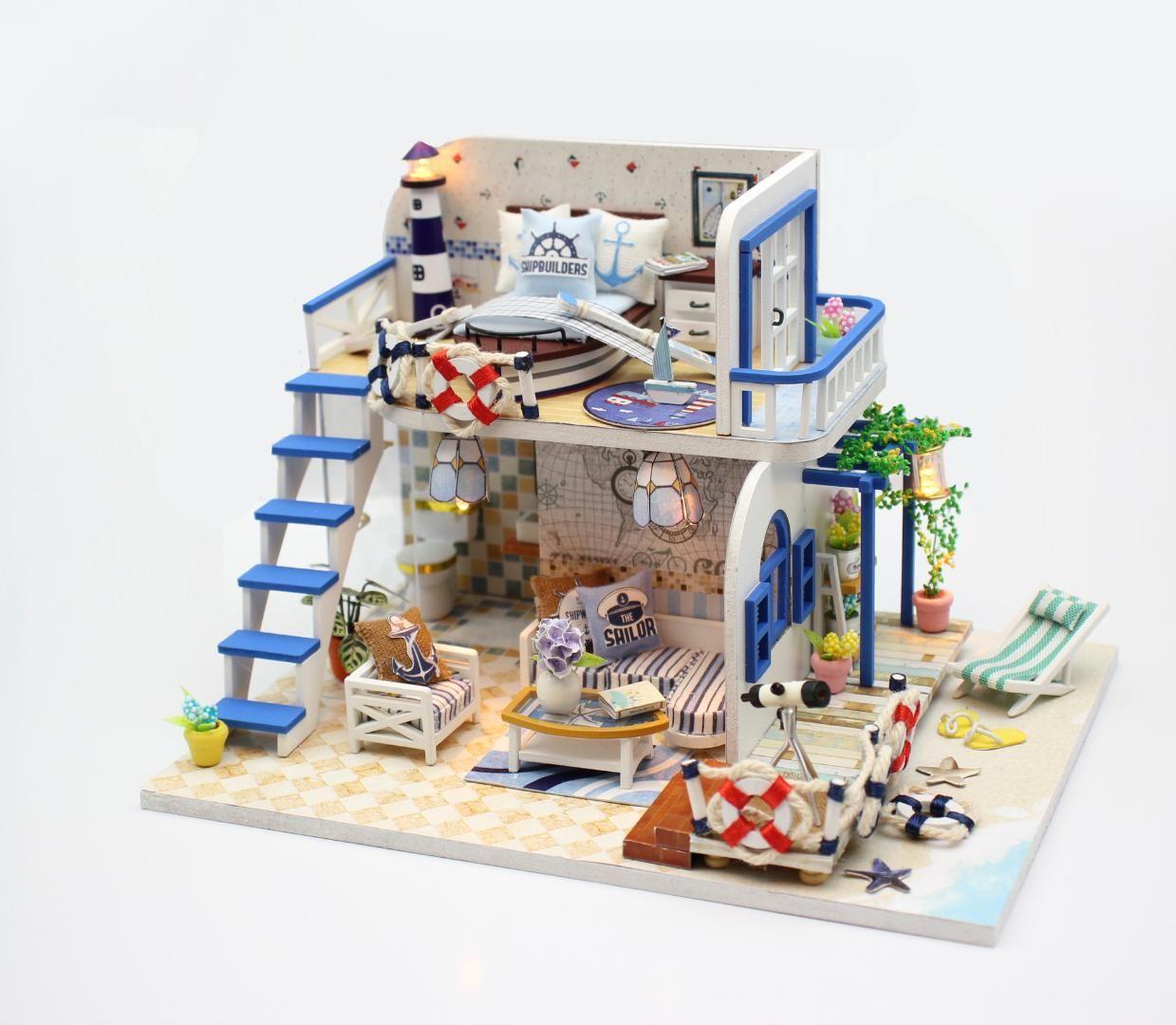 Diy Seaside Villa Mini Dollhouse With Miniature Furniture Dust Cover