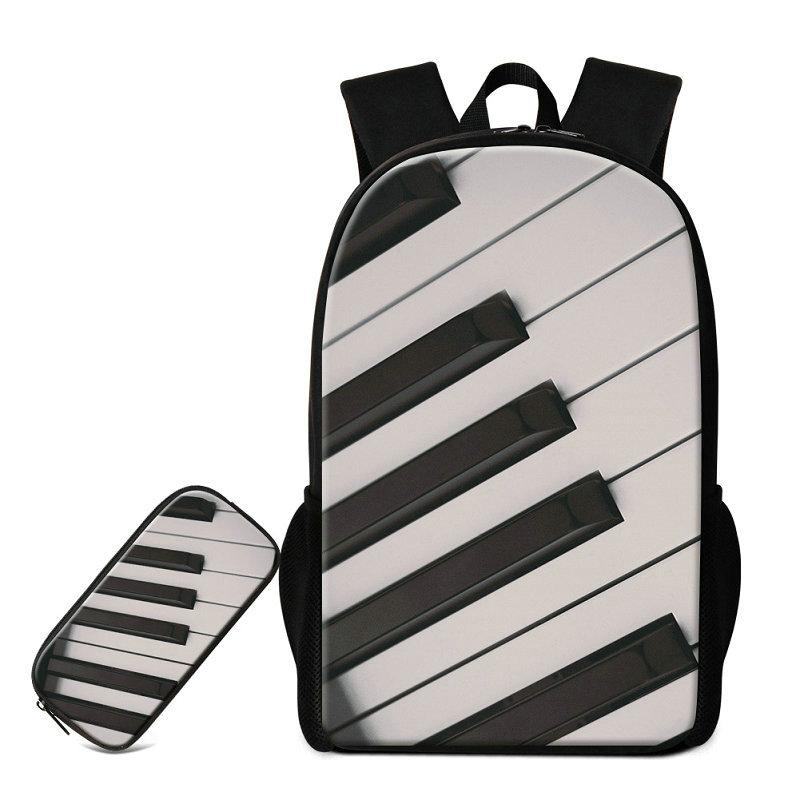 3D Piano Guitar School Bags Musical Note Schoolbags Bookbags With Pencil Bag  Women Men Traveling Bagpacks Children S Fashion Backpack Rugzak Vintage ... 2db0fdc8e1f25