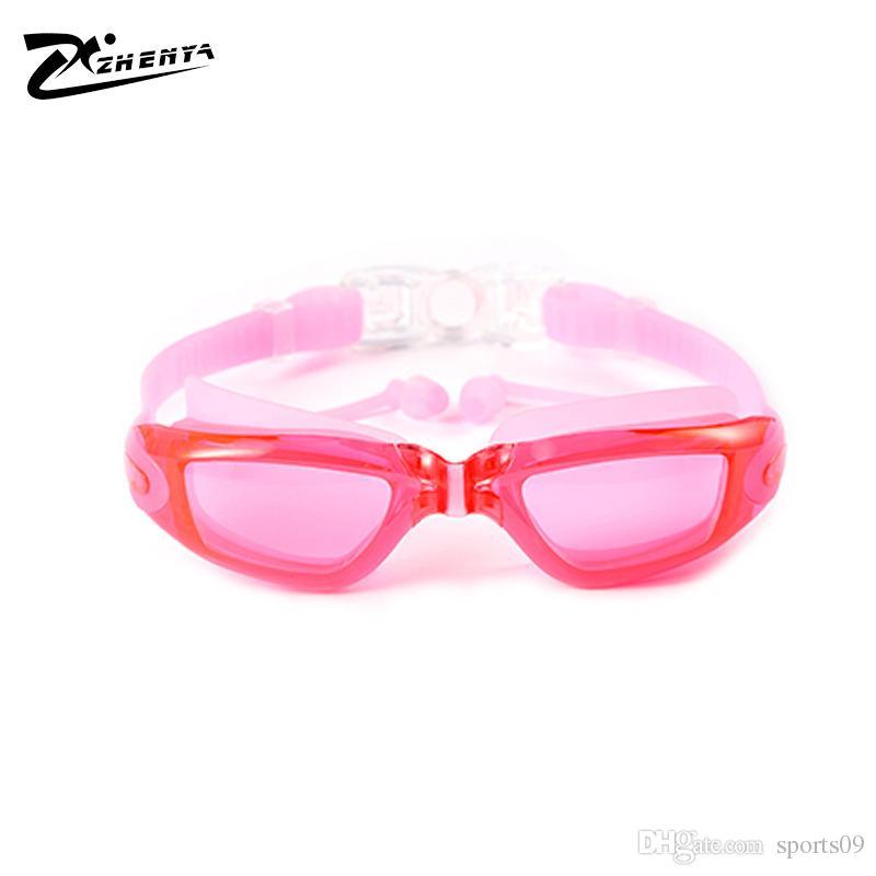 Männer Frauen Schwimmen Gläser Anti Fog UV Schutz Schwimmen Brillen Professionelle Galvanisieren Wasserdichte Schwimmbrille mit Ohrstöpsel