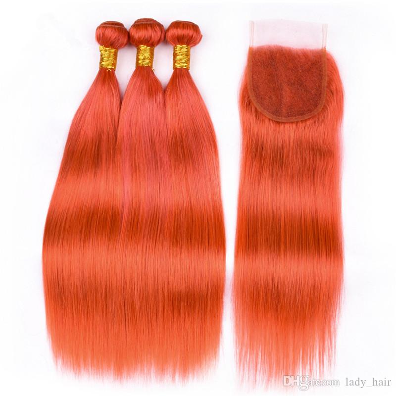 Colored Orange Virgin Brazilian Human Hair Bundles with Lace Closure 4x4 Silky Straight Pure Orange Hair Weaves Extensions with Top Closure
