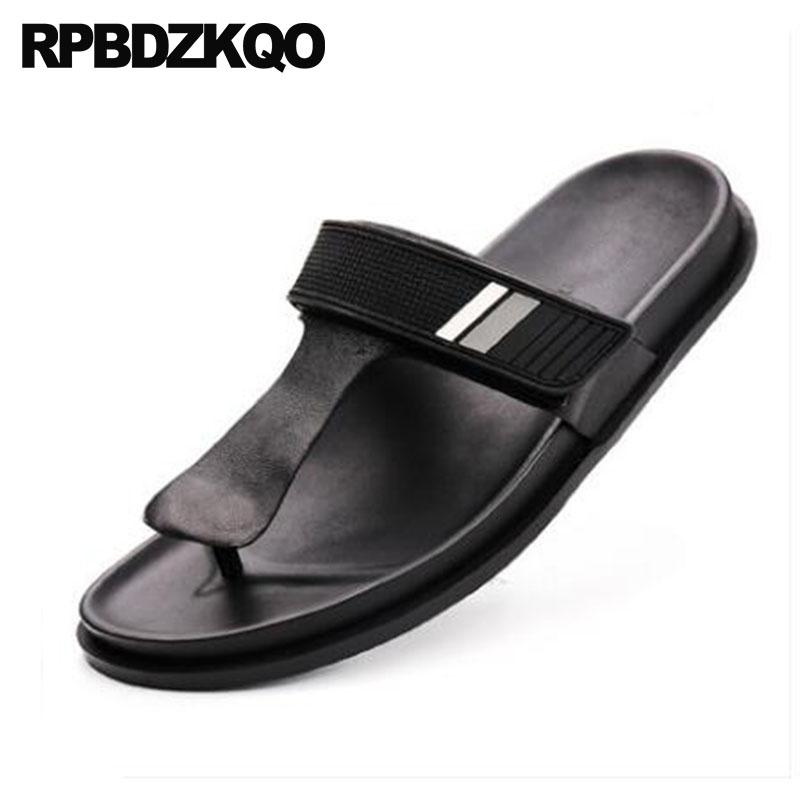 6f59669f9eae Leather Slippers Shoes Fashion Designer Men Black Casual Flip Flop Slides  Slip On Waterproof Mens Sandals 2018 Summer Outdoor Shoes For Sale Womens  Loafers ...