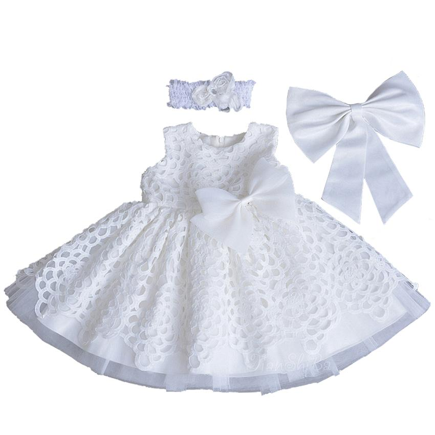25787aacd 2019 Newborn Princess Style Kids Dresses For Baby Girl Christening Gown  Lace White My First Birthday Day Party Dress With Headband From Heathera,  ...