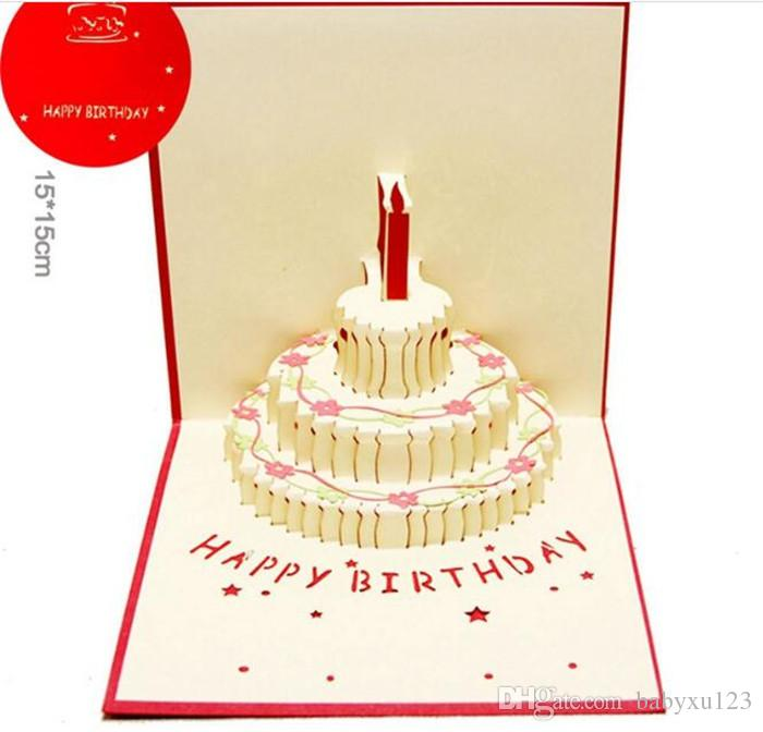 Birthday Cake 3d Pop Up Gift Greeting 3d Blessing Cards Handmade