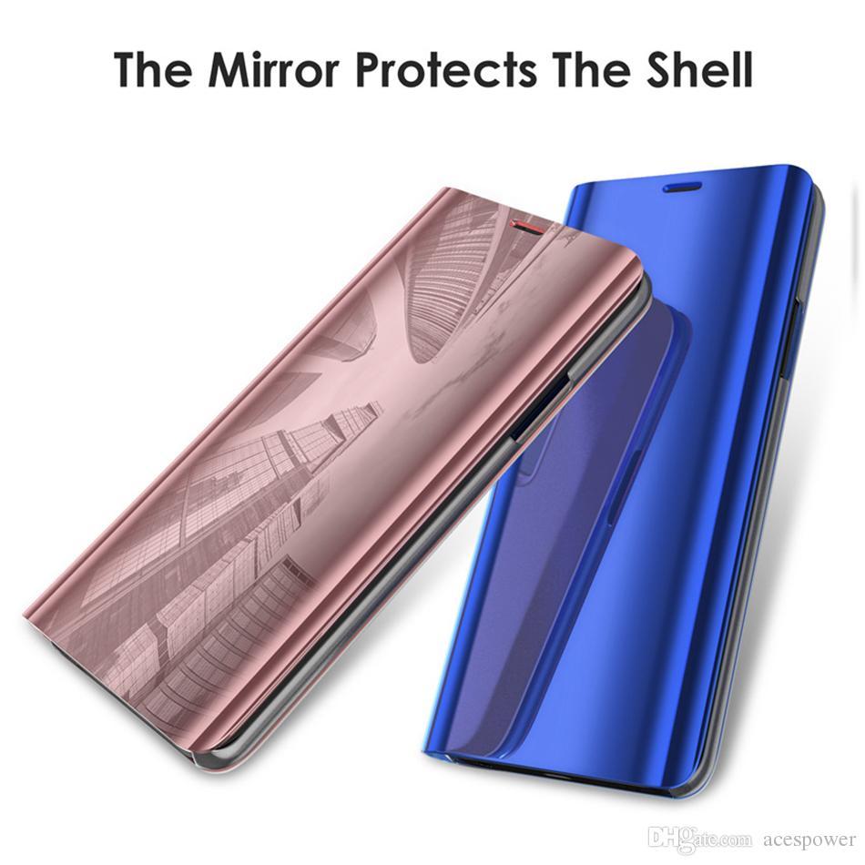 حالات فليب آيفون 12 برو ماكس سامسونج ملاحظة 20 S20 S9 زائد S10 8 حامل الهاتف الكهربائي غطاء المرآة الذكية واضحة