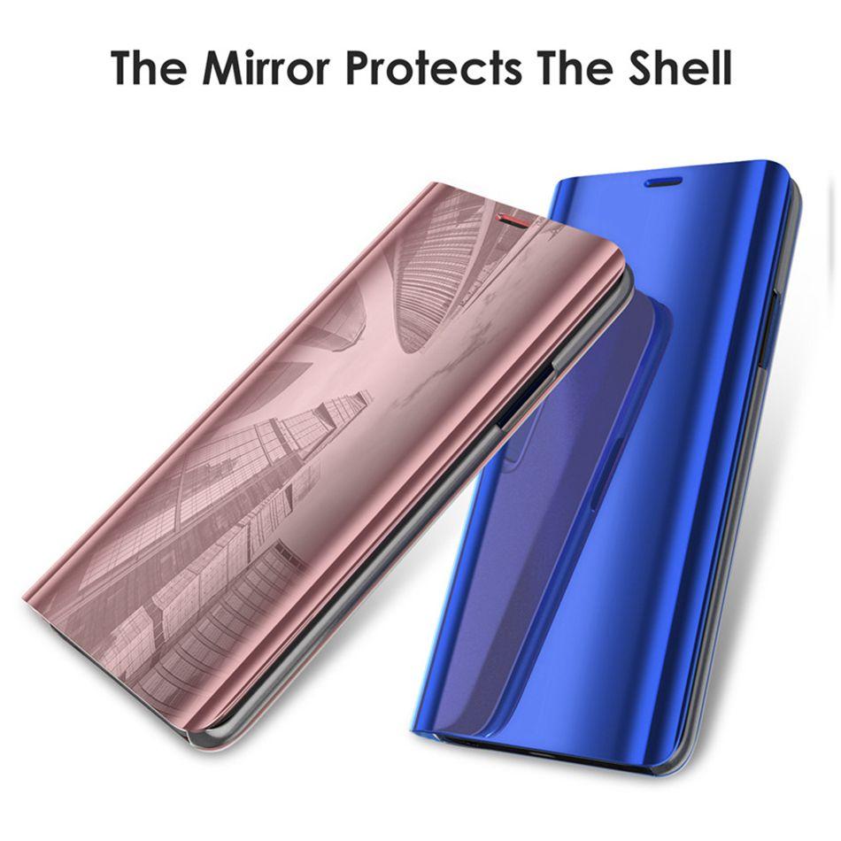 Cajas de flip para iPhone 12 Pro Max Samsung Note 20 S20 S9 Plus S10 8 Soporte de teléfono Electroplate Clear Smart Mirror Cubierta