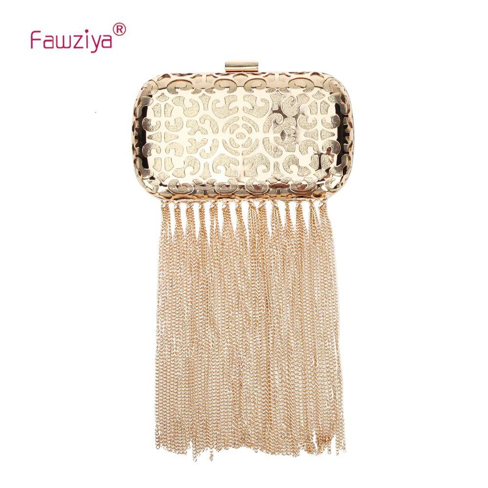 bece745f3daf Fawziya Long Tassel Clutch Purse Metal Hollow Womens Evening Handbag  Evening Bags Gold Clutch From Delina