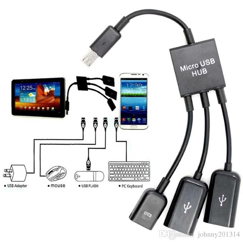 Adaptador de conector de cable de 4 puertos Micro USB OTG Power Hubging Spliter Adapter para Tablet PC de Smartphone