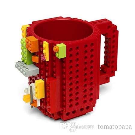 1Pc 12oz Build-On Brick Mug Lego Type Building Blocks Coffee Cup DIY Block  Puzzle Mug Portable Drinkware Drinking Mug 4 Colors