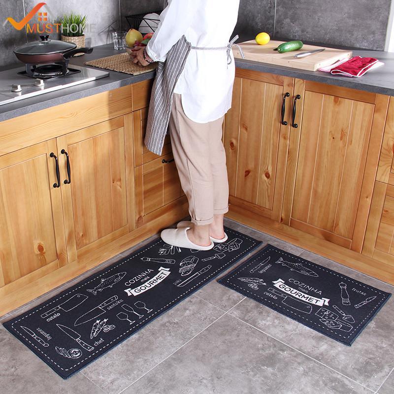 2 Pcs Kitchen Mat Anti-slip Japan Style Cartoon Rubber Backing Kitchen Rug  Set 40*60cm 40*120cm