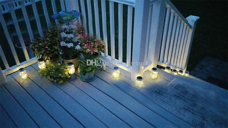 Led Solar Powered Frasco de Pedreiro Tampas Luz 10Led Luzes Da Corda em Tampas de Prata Para Mason Frascos De Vidro Do Jardim De Natal Do Partido luzes WX9-518