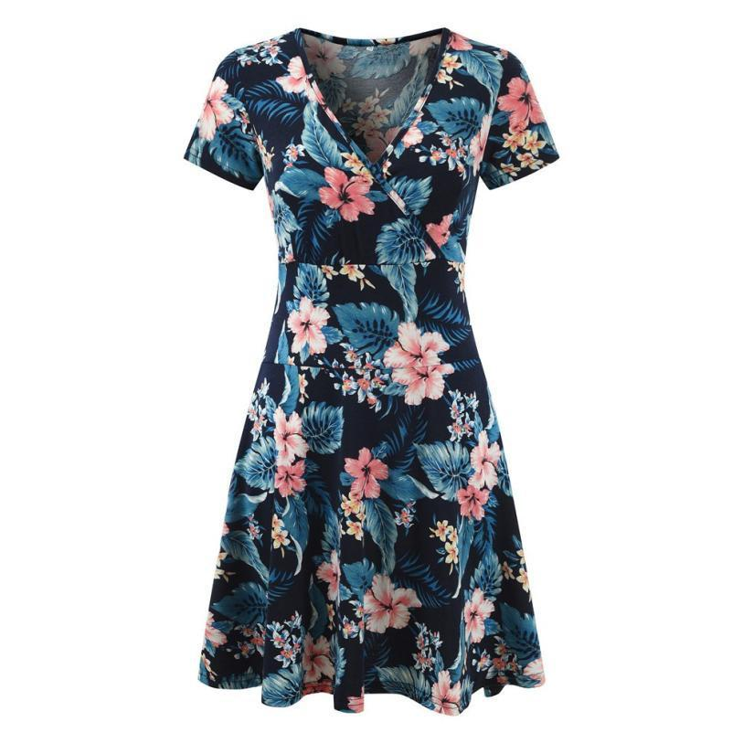Bohemian Style Women S V Neck Cap Sleeve Floral Print Casual Work