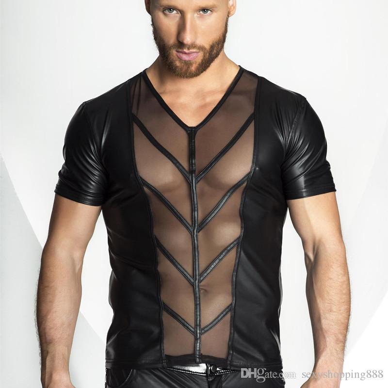 a5fff0162ac125 Gothic Lackleder Kleid Sexuelle Abnutzung Sexy Exotische Tanks Homosexuell  Erotische Dessous Männer Sex Party Kostüm Erwachsene Nachtclub Kleidung
