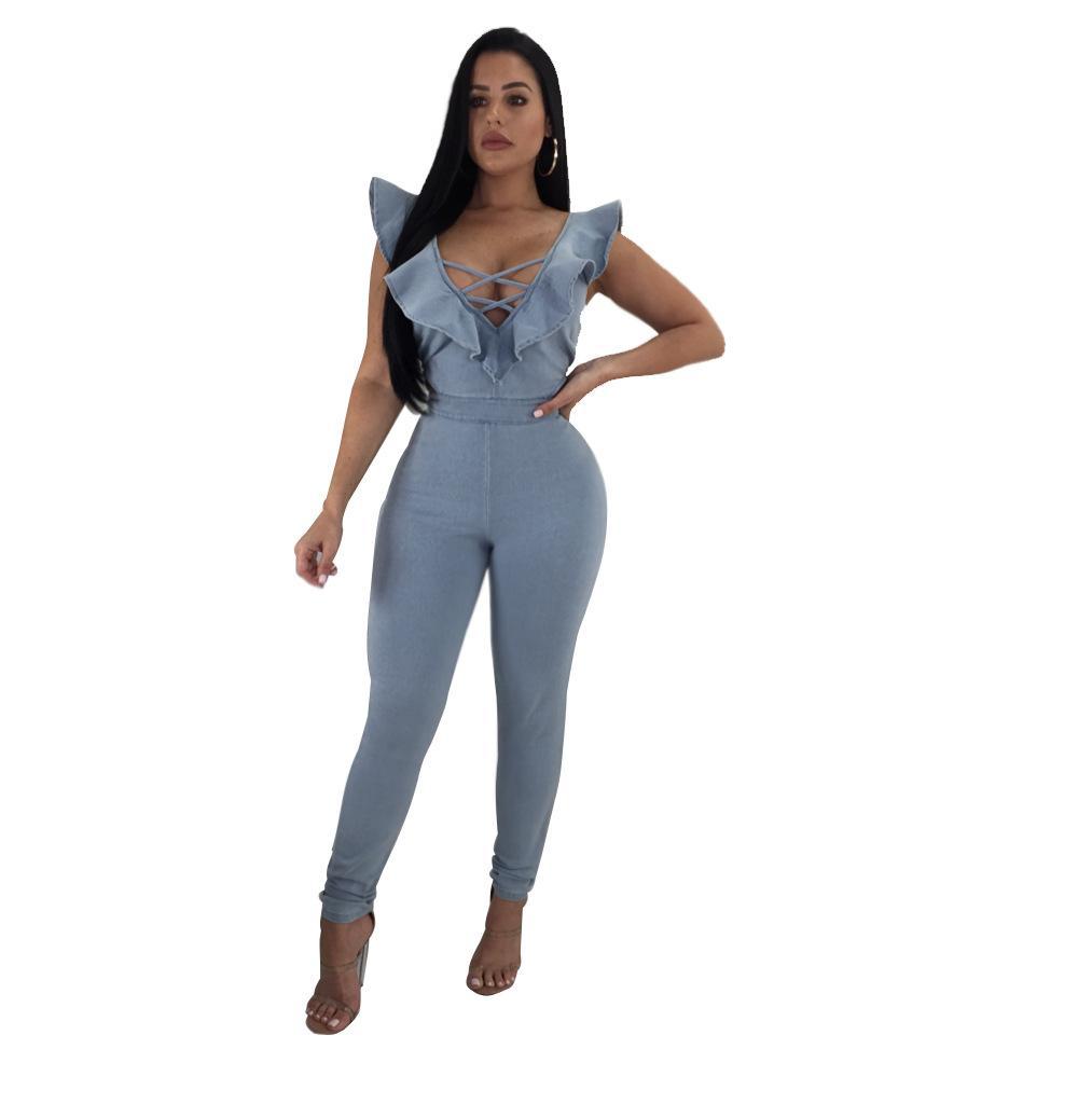 43b520237725 2019 Sexy Women Deep V Neck Sleeveless Back Zipper Denim Jumpsuit Summer  Long Ladies Overall Light Blue Skinny Romper From Tayler