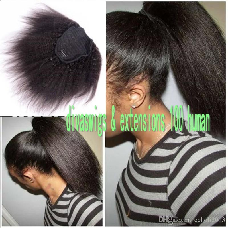Nuovo arrivo viziosa coda di cavallo dritto Estensione dei capelli reale dei capelli umani coulisse coda di cavallo parrucchino 100g-160g nero naturale 1b #