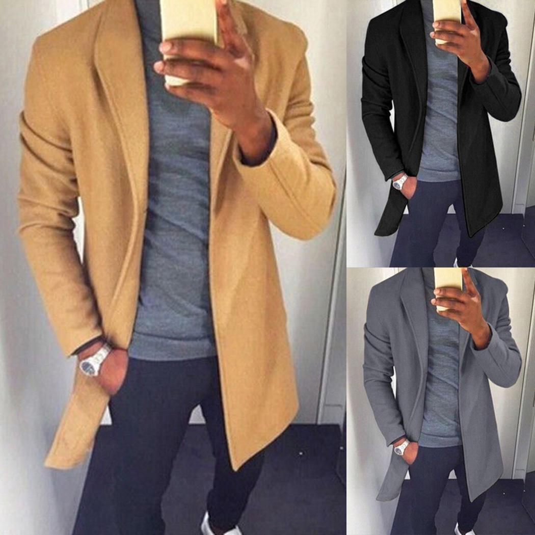 e7949de57162 2019 2018 Fashion Autumn Men Wool Trench Coat Cardigan 3XL Winter Warm  Lapel Long Coats Male Solid Slim Jacket Windbreaker Outwear From Yuanchun,  ...
