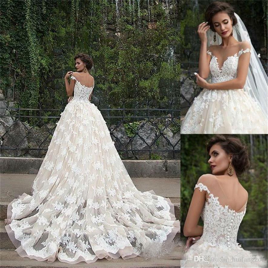 compre vestido de boda del cuello del barco sheer escarpado zuhair