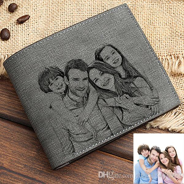 Men's short wallet simple fashion folding bag diy photo lettering wallet Personalized Photo Men's purse Personalized custom trend wallet
