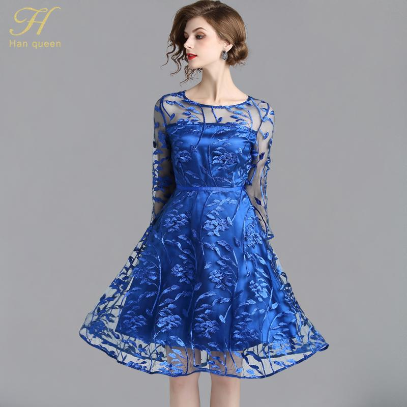 Vestido encaje azul h&m