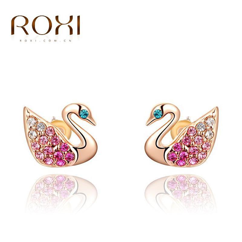 ROXI Modeschmuck Ohrring Für Frauen Kleine Swan Ohrringe Gold / Splitter Farbe Bunte Ohrstecker Brincos Grandes Für Frauen