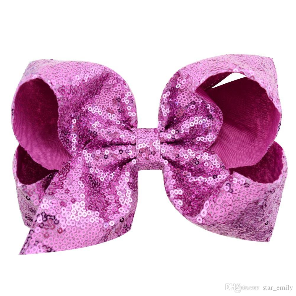8 Inch Hair Bow Jojo Bows With Clip For School Baby Children Large Sequin Bow Unicorn Bow Mermaid For valentines 310