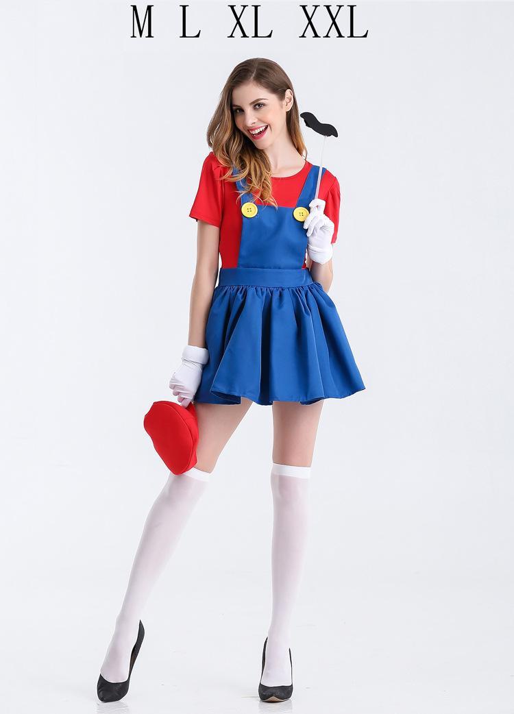 Compre Acessórios Cosplay S Halloween Super Mario Traje Mulheres Luigi  Costume Clothing Sexy Encanador Traje Super Mario Bros Trajes Fantasia . 544ed1c98da