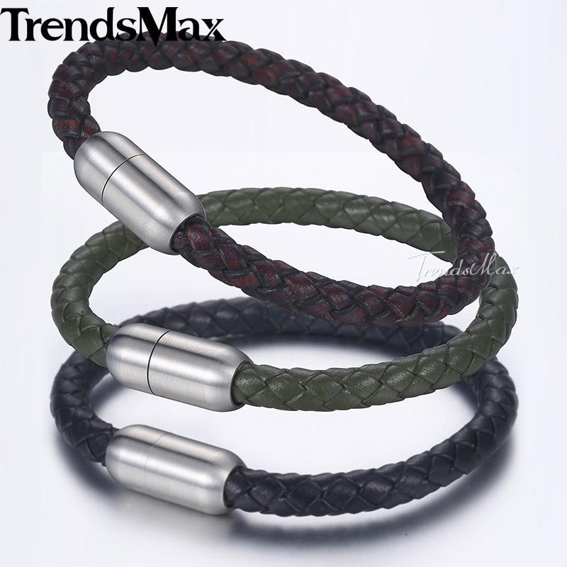 627e411867e1 6 mm pulseras de cuero genuino trenzado para hombres mujeres negro pulsera  de pulsera marrón acero inoxidable cierre magnético redondo DLBM14