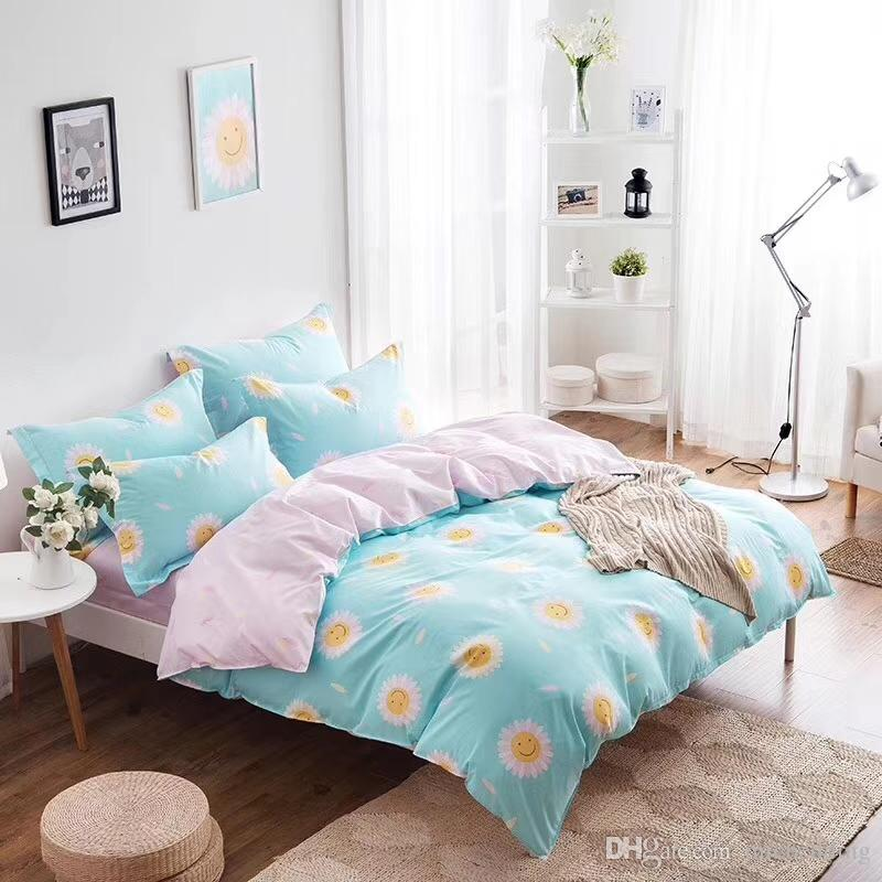 cotton fabric bedding set four pieces set bed sheet bed cover and two pillow case flower designs mutual color Ming yang 201899