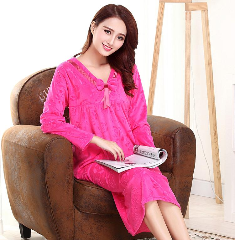 Large size female nightgowns coral velvet robes long sleeved sleepwear winter princess sleeping dresses for lady women