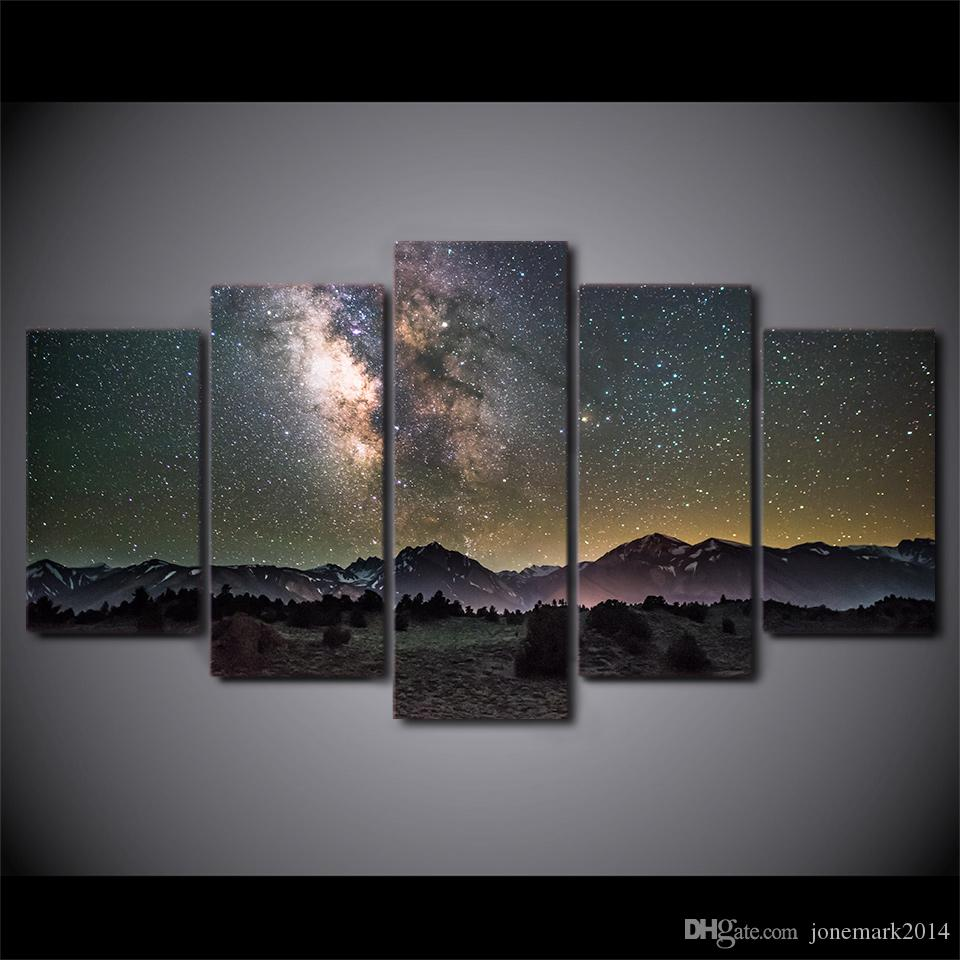 5 шт HD Printed Canvas Art Galaxy Night Starry Sky Современные фотографии стены для гостиной Бесплатная доставка NY-7405C
