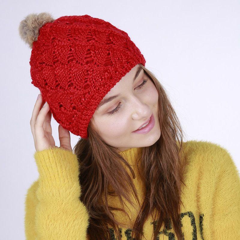 7469c4027bc 2019 Winter Hand Knitted Beanie Hats Rabbit Hair Pompon Acrylic Autumn Knit  Crochet Woolen Hat Man Woman Unisex Gorros Warm Caps From Winzfox