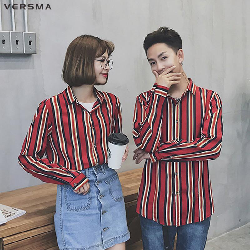 cf45244ee9034a 2019 VERSMA Korean Ulzzang Harajuku Vintage Stripe Couple Men Shirt Summer  Hip Hop Oversize Long Sleeve Shirt Men Korean Clothing 5XL From Luweiha