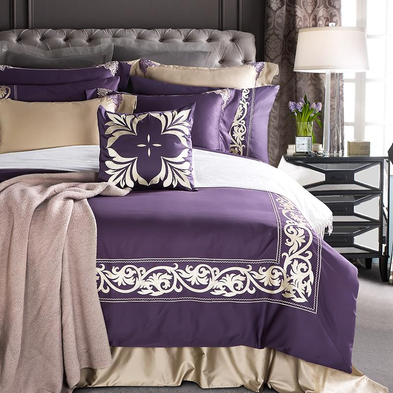 4 Egyptian Coon Noble Luxury Purple Bedding Set Embroidered Duvet
