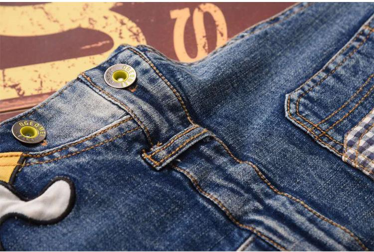 Classic spring autumn children's overalls infant soft denim bib pants baby boy girl jeans casual trousers 3-7T
