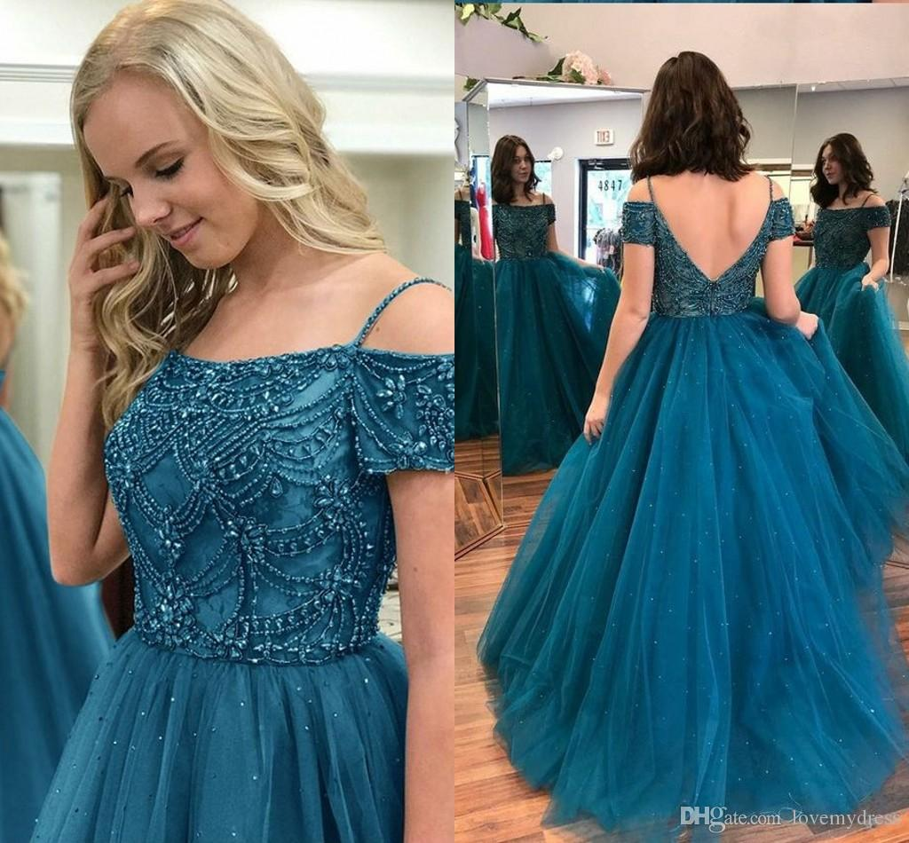 2018 Fashion Cold Shoulders Pearls Prom Evening Dresses Long Dark