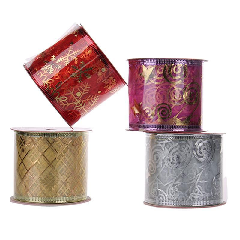 wholesale 4 rolls christmas ribbon streamers glitter printed gift wrapping diy craft party decoration for christmas tree decor online with 2689piece on