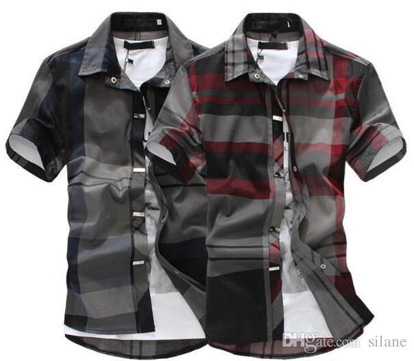 Compre Atacado Camisa Xadrez Preto Vermelho Homens Camisa De Manga ... 52f324071e5d9
