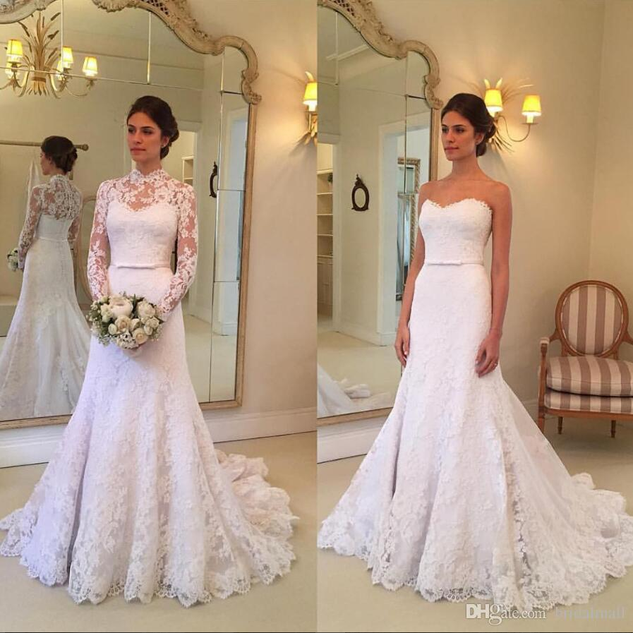 White Lace Mermaid Wedding Dresses With Long Sleeves Jacket Button Back  Bridal Dresses Plus Size Court Train Beach Wedding Gowns For Brides