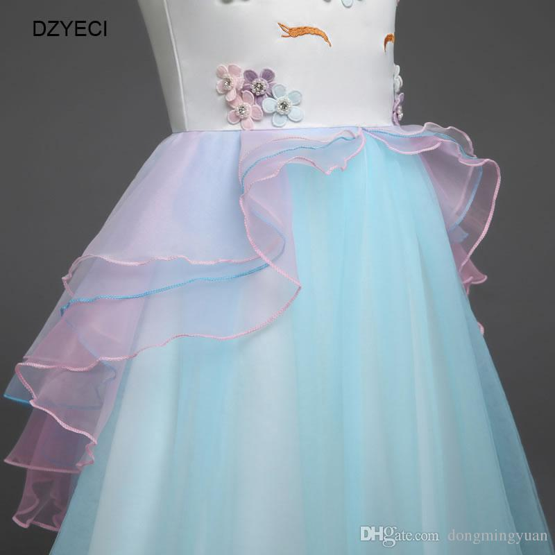 Unicorn Lace TUTU Dresses For Baby Girl Party Birthday Costume Summer Kid Embroidery Backless Princess Frock Child Gown Ariel Dress 2-6Year