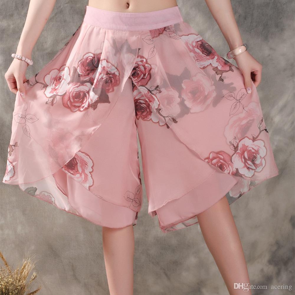 Weibliche Kurze Chiffon Hosen Beiläufige Wide Lose Kl170 Rock Hose Culottes Leg Frauen Ethnic Blumendruck Kleid Sommer dxrBsQhCt
