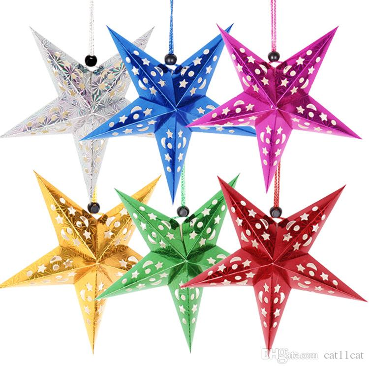 Wholesale - Christmas Paper Star Christmas Three-dimensional Laser Five-pointed Star Santa Xmas Decorations