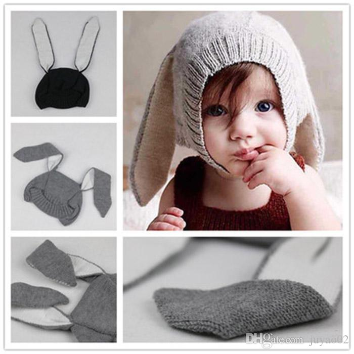 19ce0c18774 2019 Winter Warm Baby Rabbit Ears Knitted Hat Infant Bunny Caps For Children  0 3t Girl Boy Beanie Hats Photography Props From Juyao02