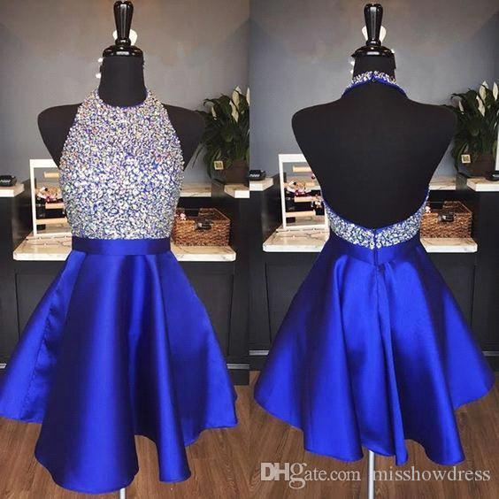Royal Blue Satin A-Line Homecoming Dresses Beaded Rhinestones Top Backless Short Party Cocktail Prom Dresses BA9257