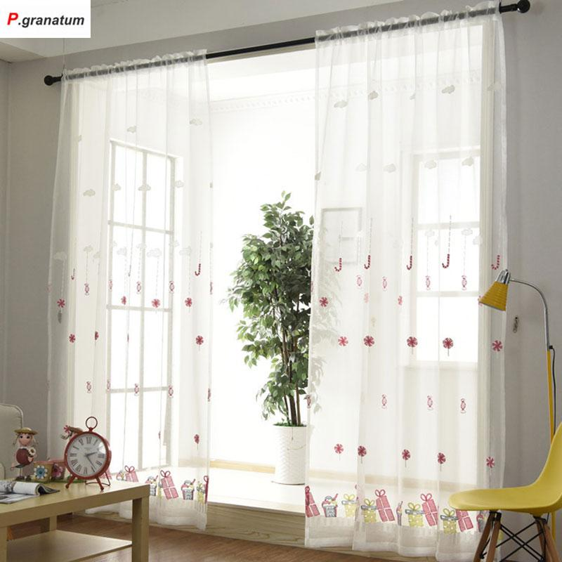 single panels sheer christmas curtains for living room kids decoration pink embroidered voile curtains for children curtains for embroidered voile curtains
