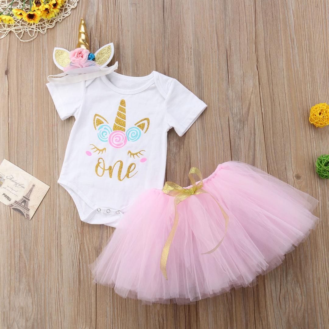 a1d9645dd3a 2019 Newborn Baby Girls Unicorn Romper Tutu Skirts Dress Headband Outfit  Set From Curd