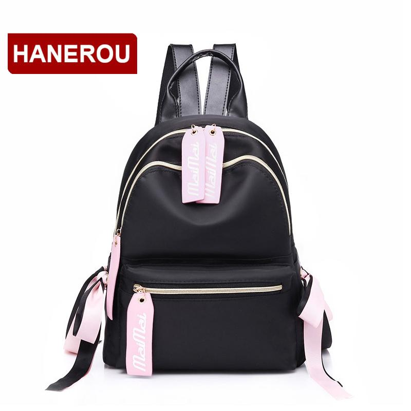c9c30d92a4 Waterproof Nylon Backpack Women Ribbon Bow Leather BackpacFor Teenage Girls  Female School Fashion Casual Alphabet Backpack Bags Rucksack From  Paradise12