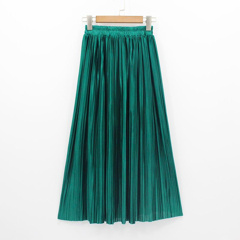 ad42acbd6f 2019 2018 New Women Fashion Long Skirts High Waist Pleated Maxi Skirt Bling  Metallic Silk Tutu Skirt From Blairi, $43.5 | DHgate.Com