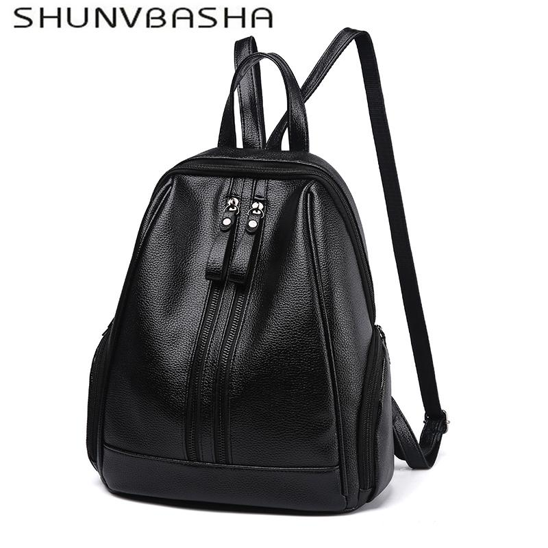 2018 NEW Fashion Women Backpack High Quality PU Leather Youth Leather  Backpacks For Teenage Girls Female School Shoulder Bag Backpacks For Men  Jansport Big ... 7218885aed125