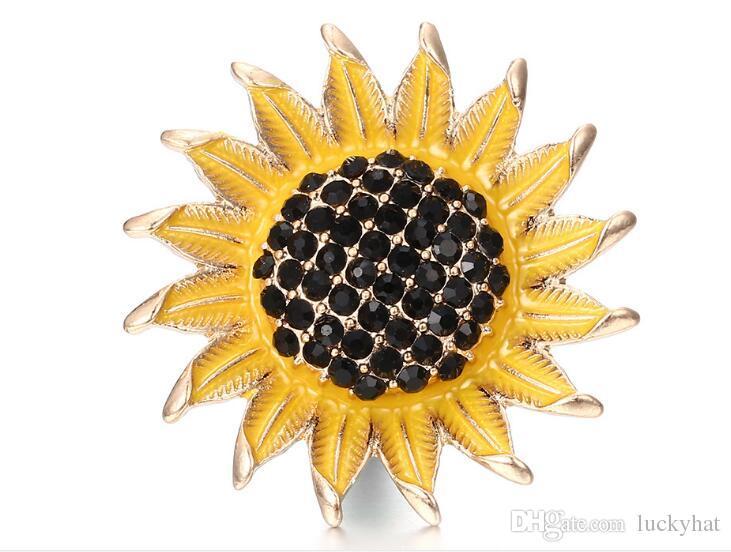 18mm con bottone a pressione pulsante noosa girasole con strass fascino fai da te gioielli fatti a mano braccialetto collana pendente fascino bella vendita calda